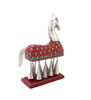 Multicolor Iron Wooden And Metal Maroon Horse With Bells By Decorlake