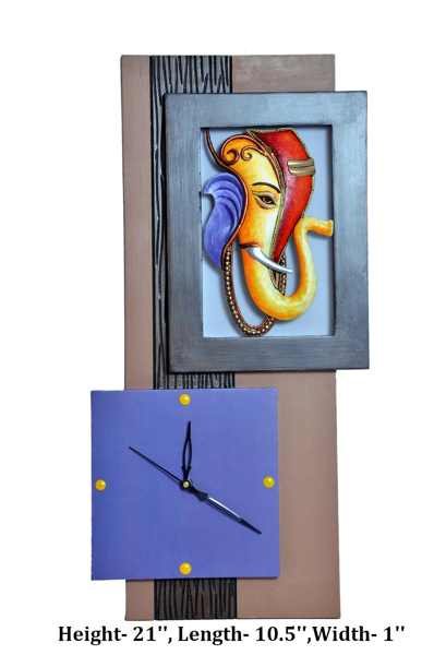 Decorative Wall Clock with Handcrafted Ganesh Art
