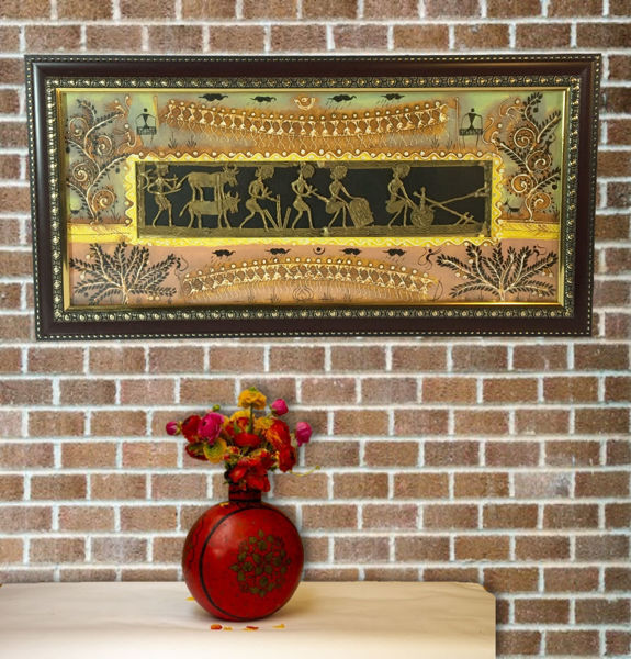 Handpainted Warli Painting with Dhokra Wall Art
