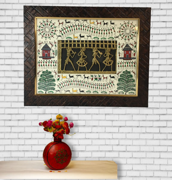 Hand Painted Warli Painting with Dhokra Figurine  Wall Decor