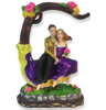 Buy online Love Couple Sitting on Tree bark bench Couple Statue Gift