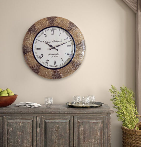 """Vintage Brass Fitted 18"""" Big Round Wall Clock"""