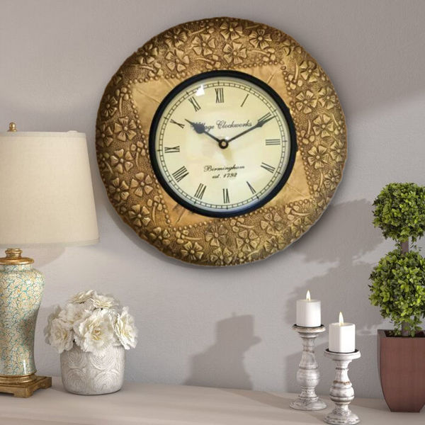 vintage golden small round wall clock