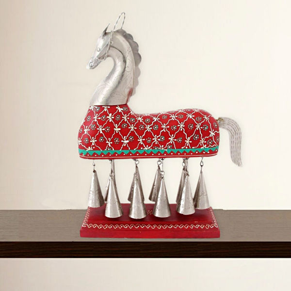 Hanging Bell Wooden Horse Table Decor