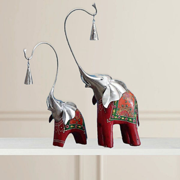 Artisan Crafted wooden Elephant with Bell Figurine