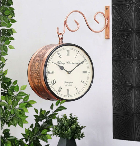 """Vintage Double Sided 8"""" Railway style Analog wall Clock In Copper"""