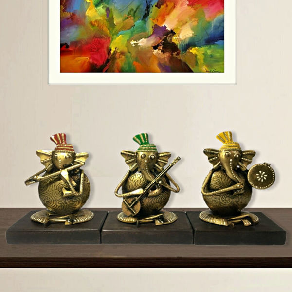 Handcrafted Wooden Iron Lord  Ganesh Musician Set of 3