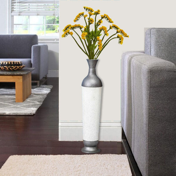White and Grey Metal Floor Molly Vase for Office or home