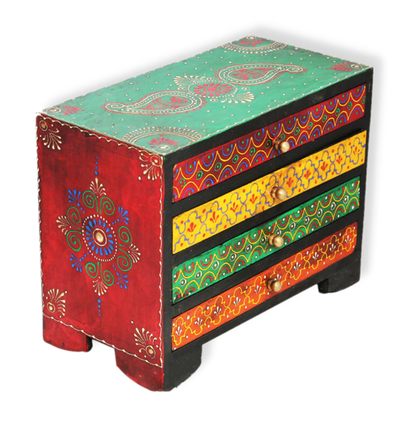 Rajasthani Art Handcrafted Wooden Jewellery Box by decorlake