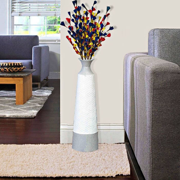 White and Grey Metal Lopa Floor Vase for Office or home