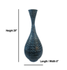 Blue Metal Zaid Floor Vase for Office or Home or Hotel
