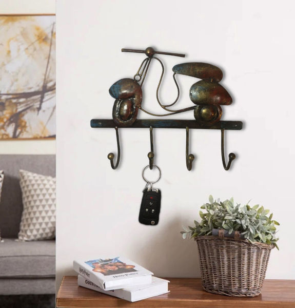 Handcrafted Iron Scooter Hook Wall Décor Key Holder