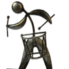 Handcrafted Wooden and Iron Man Figurine playing Drum