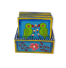 Wooden tea coaster with beautiful parrot painting
