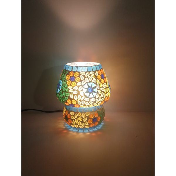 Electric powered Multicolour Fancy Glass Table top lamp