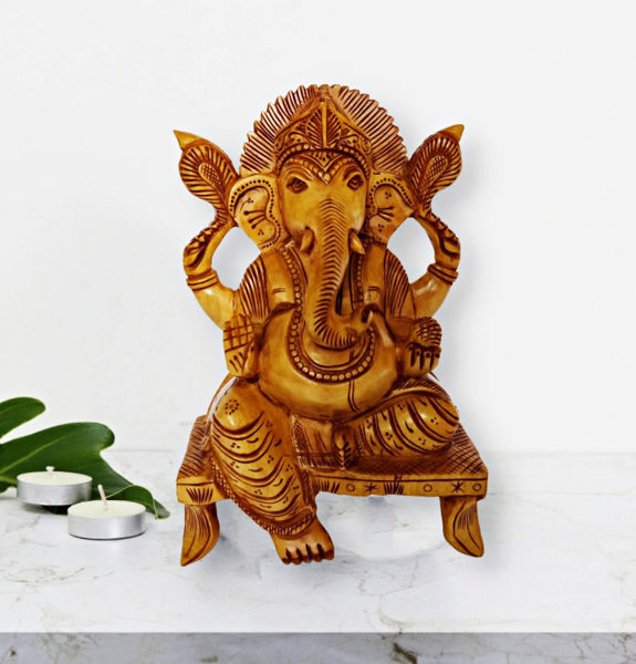 Sitting Lord Ganesha Statue With Beautiful Craving by Decorlake