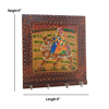 Wood Carved Hand Painted Square Shape Key Holder For Wall