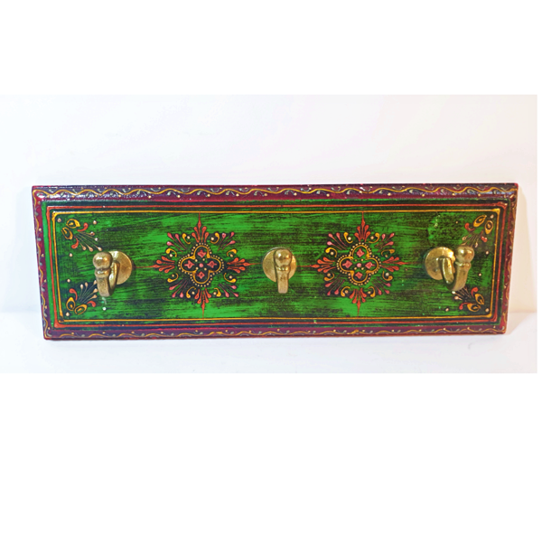 Wooden Carved Hand Painted Key Hanger with distressed traditional look