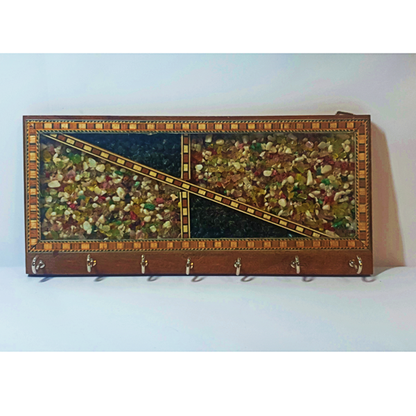 Wooden with Colourful Gemstone Key Hanger