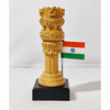 Wooden Ashoka Stambh  With Indian Flag In Brown