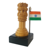 Wooden Small Ashoka Stambh  With Indian Flag In Brown